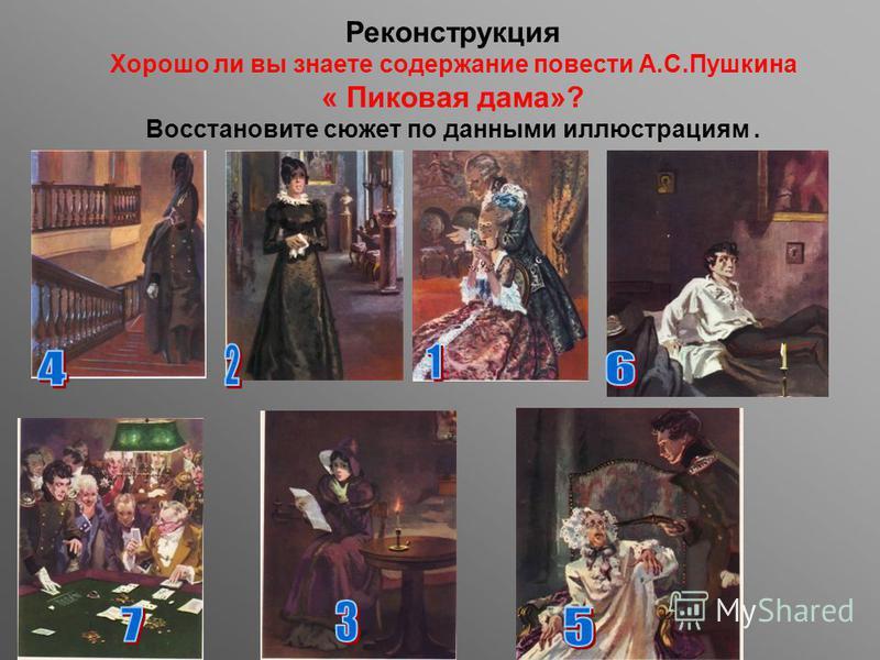Реконструкция Хорошо ли вы знаете содержание повести А.С.Пушкина « Пиковая дама»? Восстановите сюжет по данными иллюстрациям.