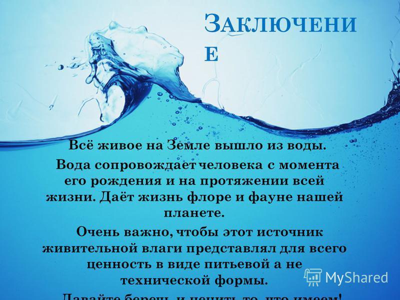 З АКЛЮЧЕНИ Е Всё живое на Земле вышло из воды. Вода сопровождает человека с момента его рождения и на протяжении всей жизни. Даёт жизнь флоре и фауне нашей планете. Очень важно, чтобы этот источник живительной влаги представлял для всего ценность в в