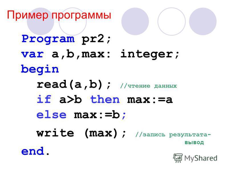 Пример программы Program pr2; var a,b,max: integer; begin read(a,b); //чтение данных if a>b then max:=a else max:=b; write (max); //запись результата- end. вывод