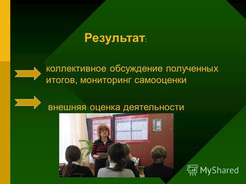 Результат : коллективное обсуждение полученных итогов, мониторинг самооценки внешняя оценка деятельности