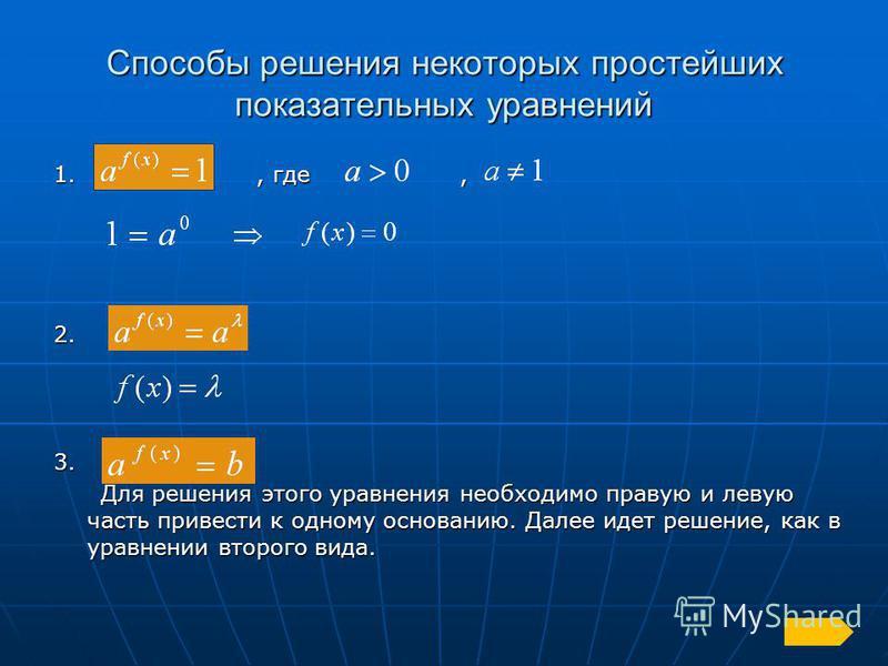 Способы решения некоторых простейших показательных уравнений 1., где, 2.3. Для решения этого уравнения необходимо правую и левую часть привести к одному основанию. Далее идет решение, как в уравнении второго вида. Для решения этого уравнения необходи