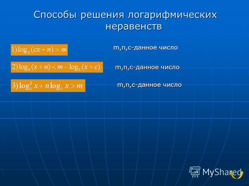 Способы решения логарифмических неравенств m,n,c-данное число