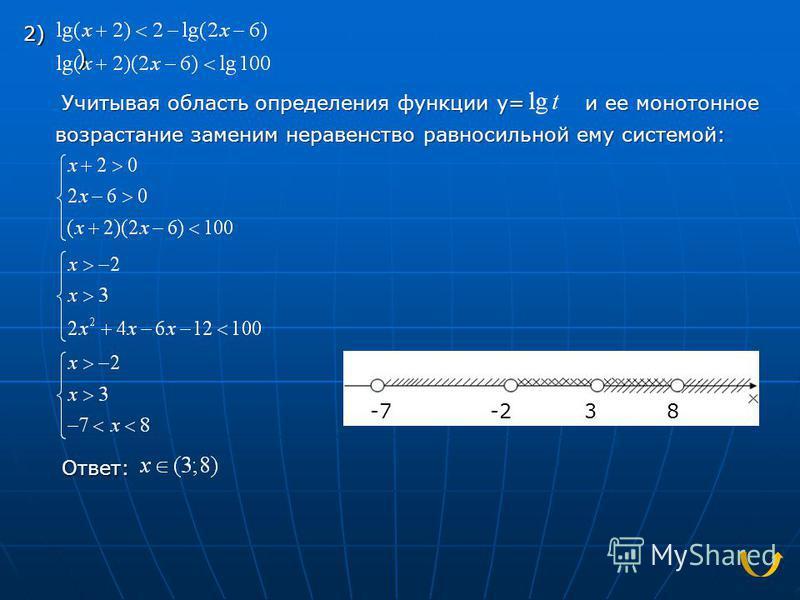 Учитывая область определения функции y= и ее монотонное и ее монотонное возрастание заменим неравенство равносильной ему системой: Ответ: 2) ) -7-238