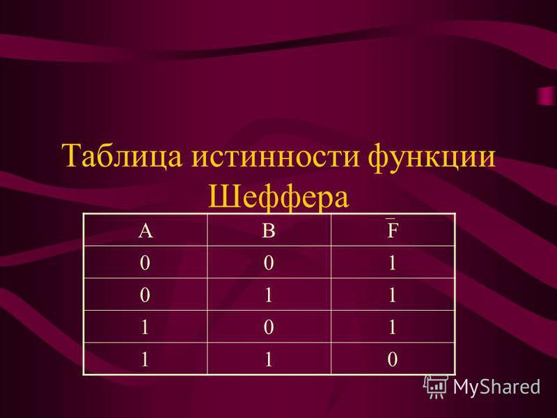 Таблица истинности функции Шеффера АВF 001 011 101 110