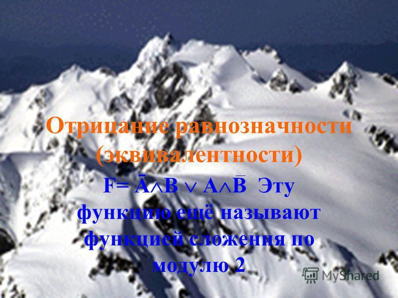Отрицание равнозначности (эквивалентности) F= Ā B A B Эту функцию ещё называют функцией сложения по модулю 2