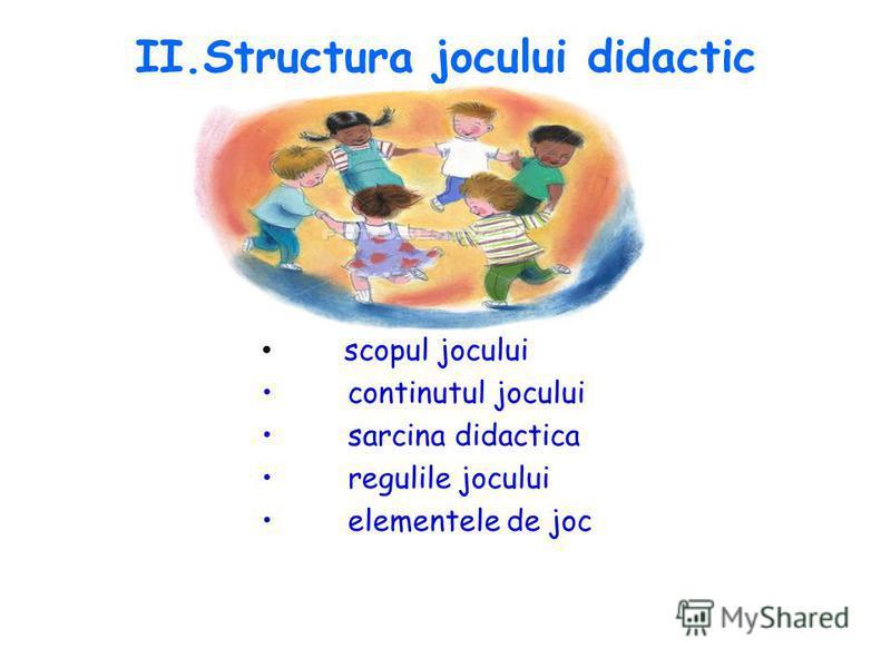 II.Structura jocului didactic scopul jocului continutul jocului sarcina didactica regulile jocului elementele de joc