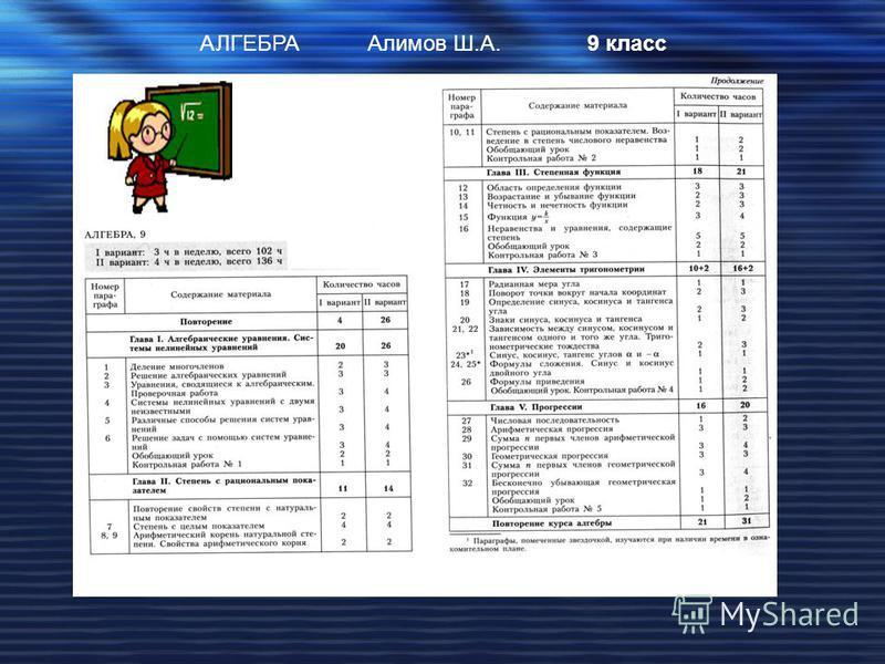АЛГЕБРААлимов Ш.А.9 класс