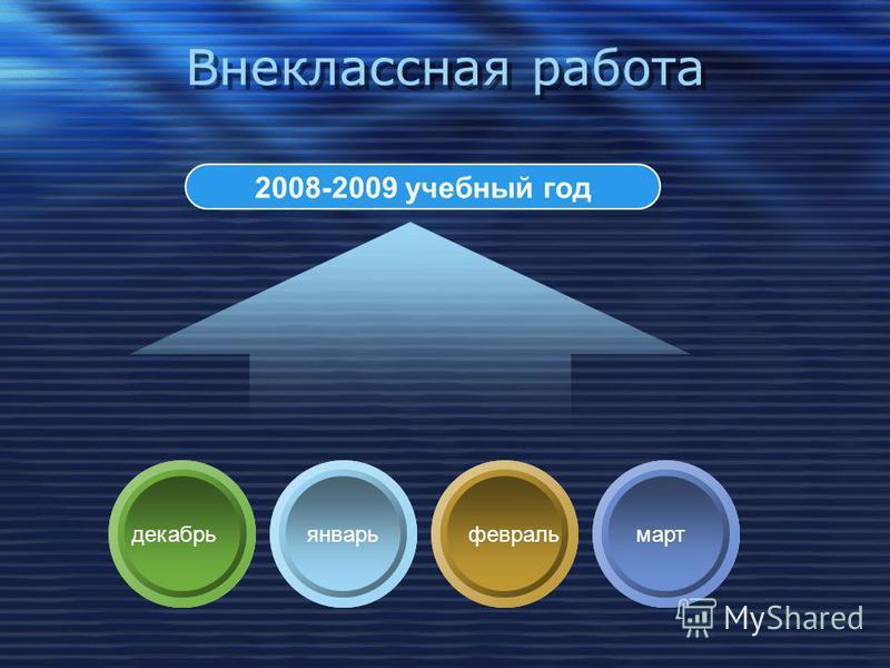 Внеклассная работа 2008-2009 учебный год январь февраль март декабрь