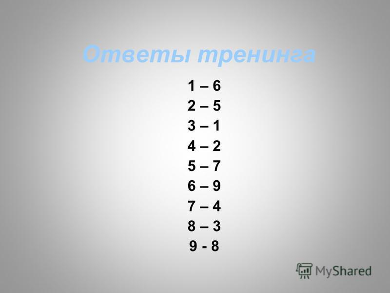 Ответы тренинга 1 – 6 2 – 5 3 – 1 4 – 2 5 – 7 6 – 9 7 – 4 8 – 3 9 - 8