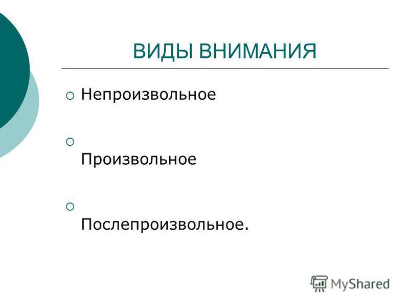 ВИДЫ ВНИМАНИЯ Непроизвольное Произвольное Послепроизвольное.