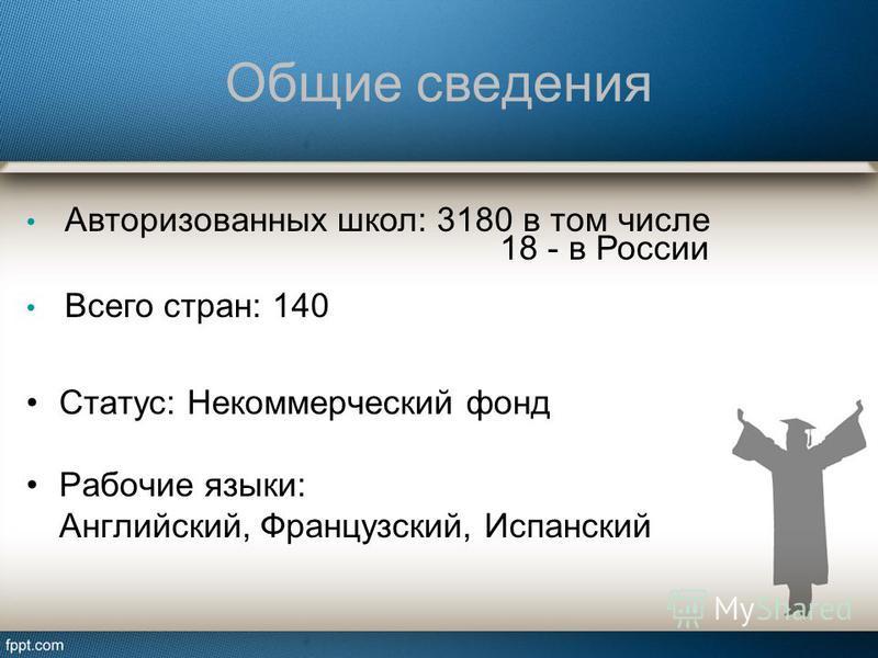 Общие сведения Авторизованных школ: 3180 в том числе 18 - в России Всего стран: 140 Статус: Некоммерческий фонд Рабочие языки: Английский, Французский, Испанский
