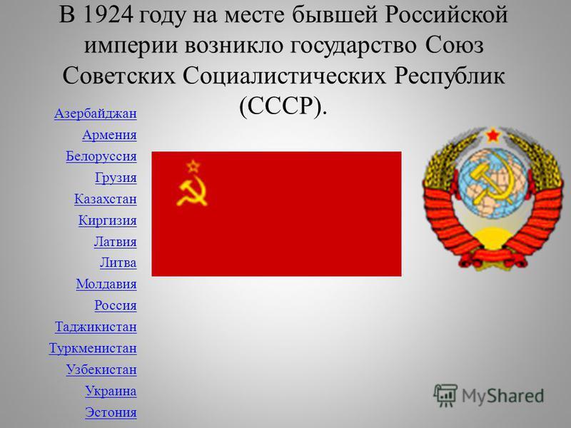 В 1924 году на месте бывшей Российской империи возникло государство Союз Советских Социалистических Республик (СССР). Азербайджан Армения Белоруссия Грузия Казахстан Киргизия Латвия Литва Молдавия Россия Таджикистан Туркменистан Узбекистан Украина Эс