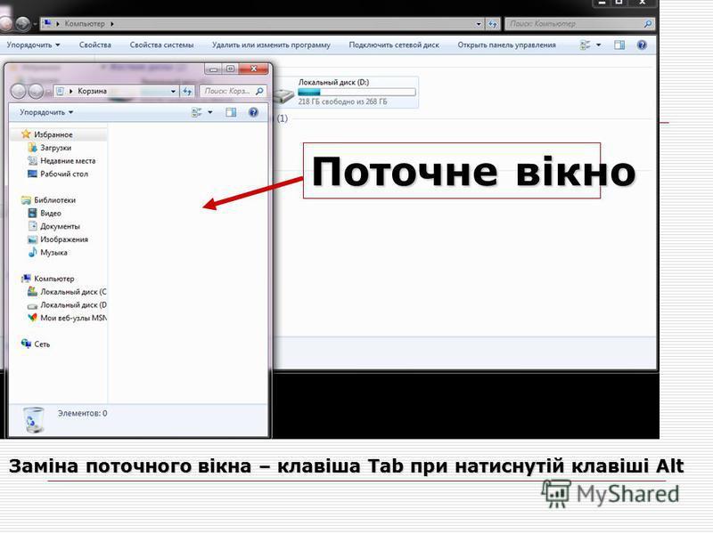 Поточне вікно Заміна поточного вікна – клавіша Tab при натиснутій клавіші Alt