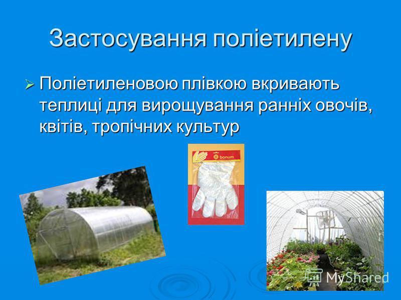 Застосування поліетилену Поліетиленовою плівкою вкривають теплиці для вирощування ранніх овочів, квітів, тропічних культур Поліетиленовою плівкою вкривають теплиці для вирощування ранніх овочів, квітів, тропічних культур