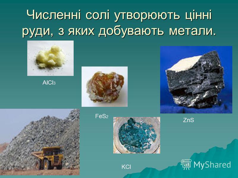 Численні солі утворюють цінні руди, з яких добувають метали. AlCl 3 FeS 2 KCl ZnS