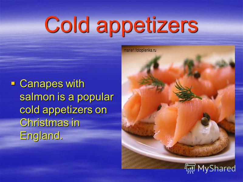 Cold appetizers Canapes with salmon is a popular cold appetizers on Christmas in England. Canapes with salmon is a popular cold appetizers on Christmas in England.