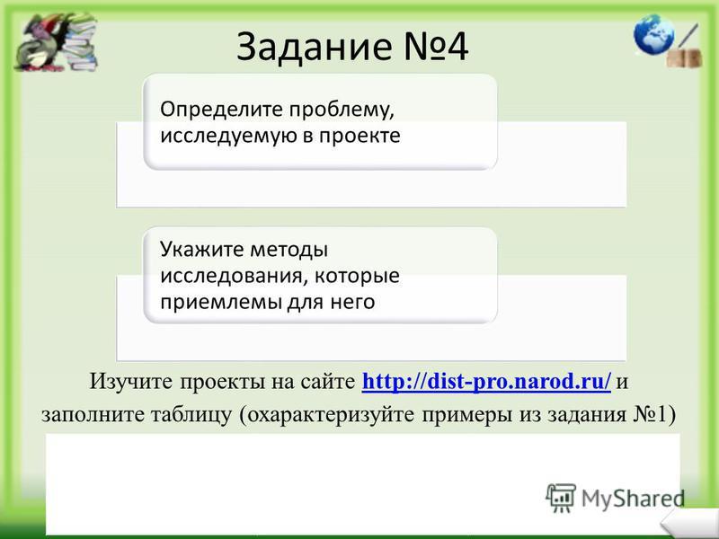 Задание 4 Определите проблему, исследуемую в проекте Укажите методы исследования, которые приемлемы для него Изучите проекты на сайте http://dist-pro.narod.ru/ и заполните таблицу (охарактеризуйте примеры из задания 1)http://dist-pro.narod.ru/ Тема п