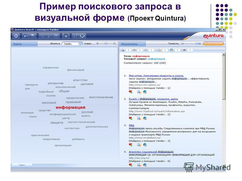 Пример поискового запроса в визуальной форме (Проект Quintura)