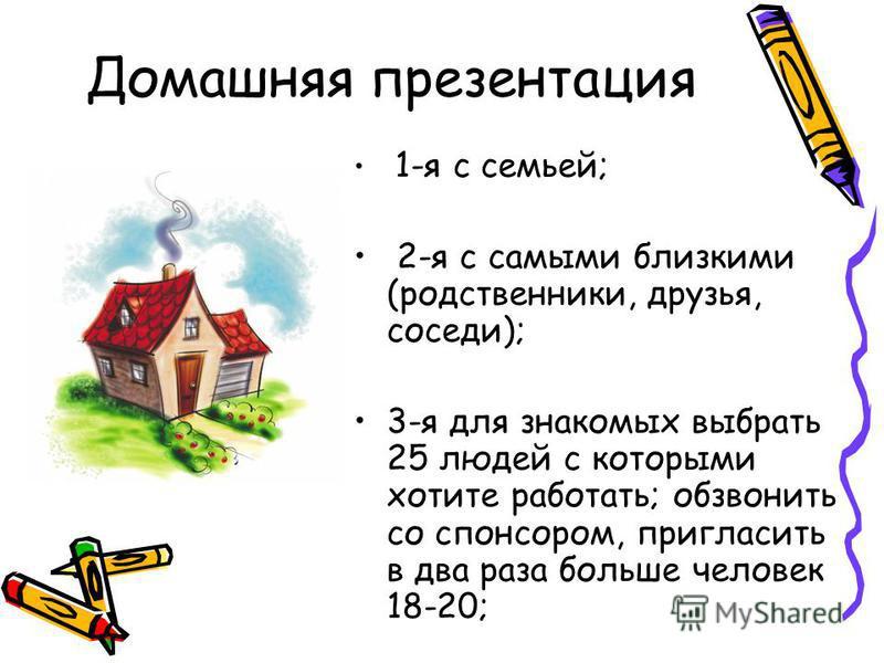 Домашняя презентация 1-я с семьей; 2-я с самыми близкими (родственники, друзья, соседи); 3-я для знакомых выбрать 25 людей с которыми хотите работать; обзвонить со спонсором, пригласить в два раза больше человек 18-20;