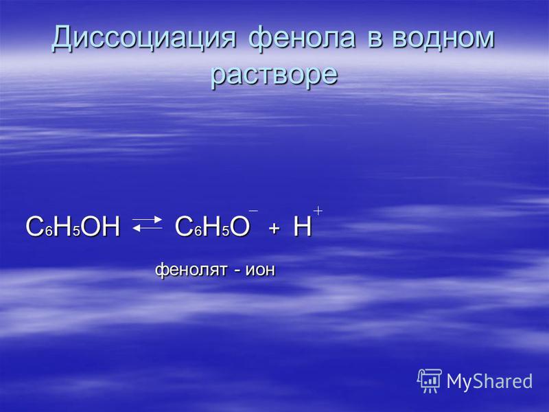 Диссоциация фенола в водном растворе С 6 H 5 OH С 6 H 5 O + H фенолят - ион фенолят - ион