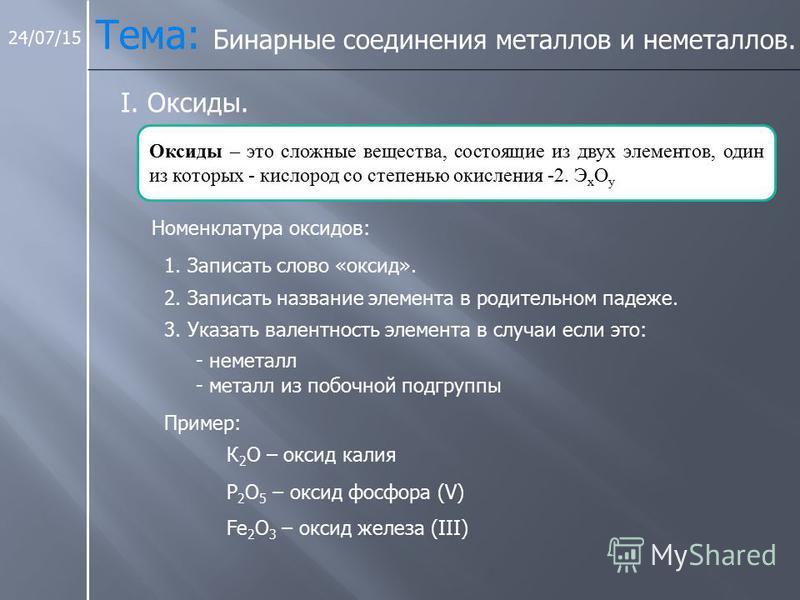 24/07/15 Тема: Бинарные соединения металлов и неметаллов. I. Оксиды. Оксиды – это сложные вещества, состоящие из двух элементов, один из которых - кислород со степенью окисления -2. Э х О у Номенклатура оксидов: 1. Записать слово «оксид». 2. Записать