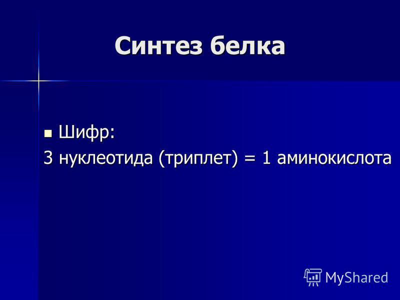 Синтез белка Шифр: Шифр: 3 нуклеотида (триплет) = 1 аминокислота