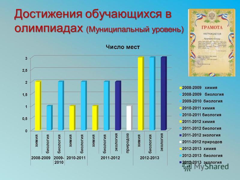 Достижения обучающихся в олимпиадах (Муниципальный уровень)