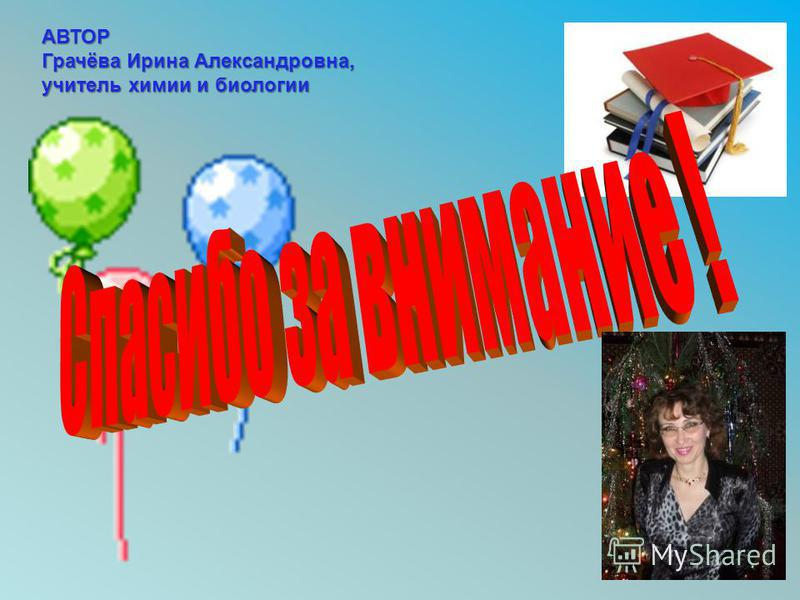 АВТОР Грачёва Ирина Александровна, учитель химии и биологии
