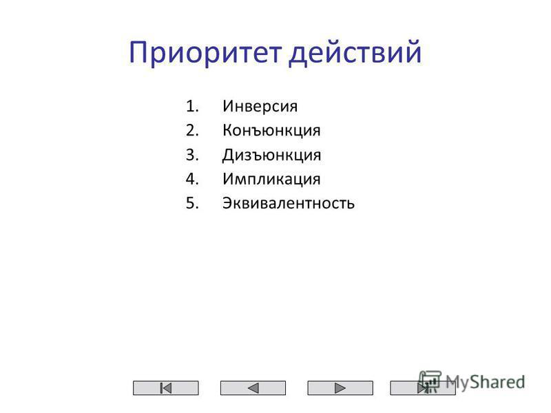 Приоритет действий 1. Инверсия 2. Конъюнкция 3. Дизъюнкция 4. Импликация 5.Эквивалентность