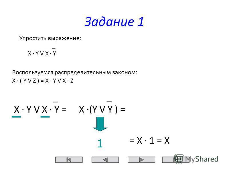 _ X (Y V Y ) = _ X Y V X Y = Задание 1 Воспользуемся распределительным законом: Х ( Y V Z ) = X Y V X Z 1 = Х 1 = Х Упростить выражение: _ X Y V X Y