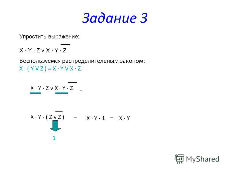 Упростить выражение: X Y Z v X Y Z Задание 3 Воспользуемся распределительным законом: Х ( Y V Z ) = X Y V X Z X Y Z v X Y Z = X Y ( Z v Z ) 1 =X Y 1=X Y