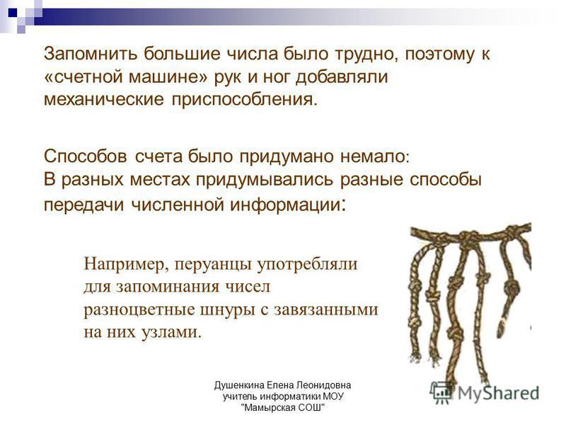 Душенкина Елена Леонидовна учитель информатики МОУ