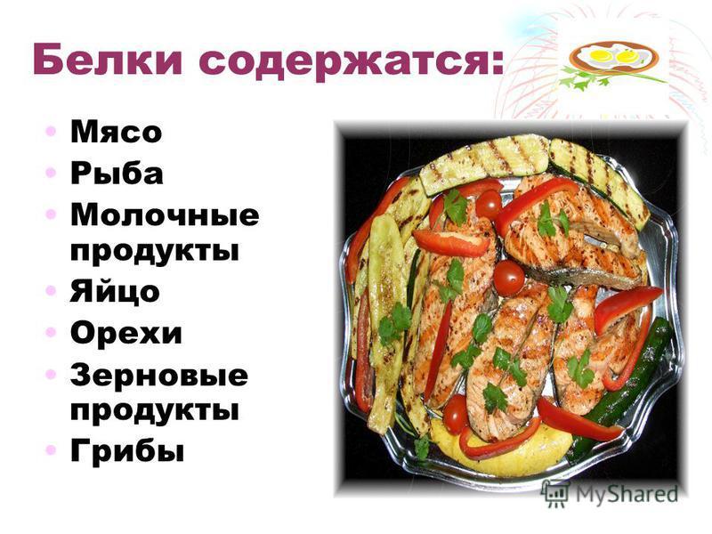 Белки содержатся: Мясо Рыба Молочные продукты Яйцо Орехи Зерновые продукты Грибы