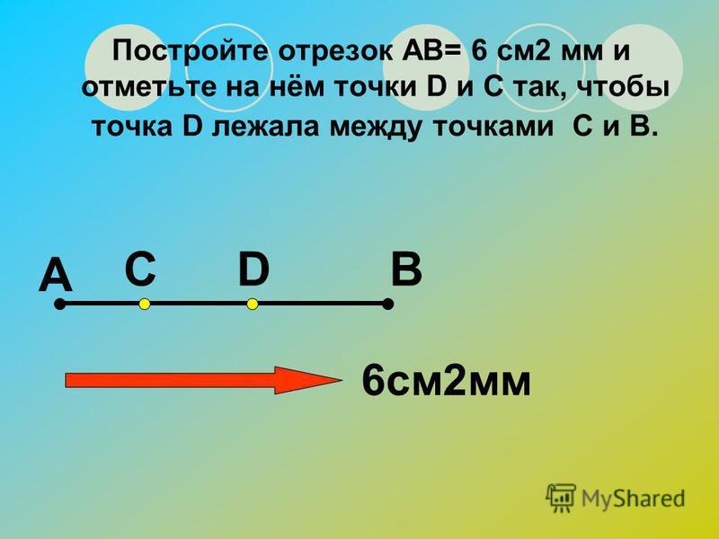 Начертите отрезок АС и отметьте на нём точку В. Измерьте отрезки АВ и АС. А СВ АВ=… ВС=…