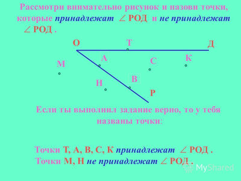 Рассмотри внимательно рисунок и назови точки, которые принадлежат РОД и не принадлежат РОД. Д О Р М Н Т А В С К Если ты выполнил задание верно, то у тебя названы точки: Точки Т, А, В, С, К принадлежат РОД. Точки М, Н не принадлежат РОД.
