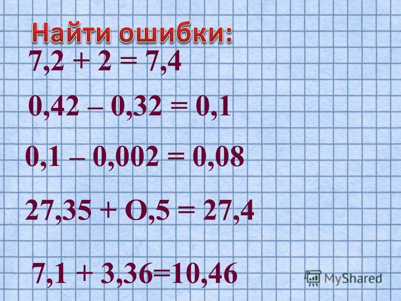 7,2 + 2 = 7,4 0,42 – 0,32 = 0,1 0,1 – 0,002 = 0,08 27,35 + О,5 = 27,4 7,1 + 3,36=10,46