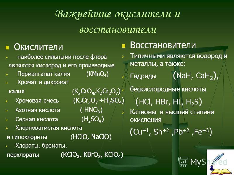 Важнейшие окислители и восстановители Окислители наиболее сильными после фтора являются кислород и его производные Перманганат калия (KMnO 4 ) Хромат и дихромат калия ( K 2 CrO 4,K 2 Cr 2 O 7 ) Хромовая смесь ( K 2 Cr 2 O 7 +H 2 SO 4 ) Азотная кислот