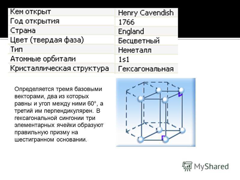 Определяется тремя базовыми векторами, два из которых равны и угол между ними 60°, а третий им перпендикулярен. В гексагональной сингонии три элементарных ячейки образуют правильную призму на шестигранном основании.