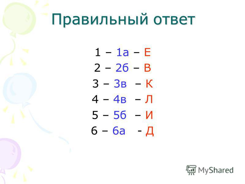 Правильный ответ 1 – 1a – E 2 – 2 б – В 3 – 3 в – К 4 – 4 в – Л 5 – 5 б – И 6 – 6 а - Д