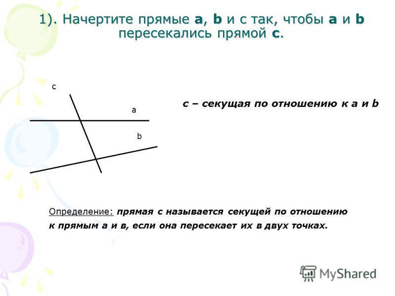 1). Начертите прямые a, b и c так, чтобы a и b пересекались прямой c. b а с c – секущая по отношению к a и b Определение: прямая с называется секущей по отношению к прямым а и в, если она пересекает их в двух точках.