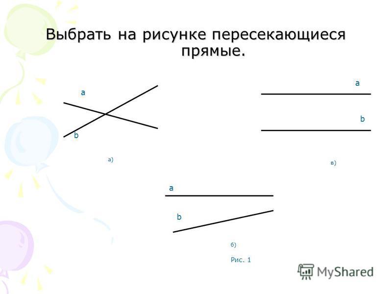 Выбрать на рисунке пересекающиеся прямые. в)в) b а а)а) a b б)б) b a Рис. 1