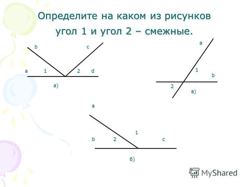 Определите на каком из рисунков угол 1 и угол 2 – смежные. а)а) a bc d12 б)б) c a b2 1 2 b в)в) 1 a