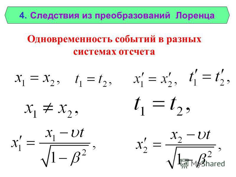 4. Следствия из преобразований Лоренца Одновременность событий в разных системах отсчета