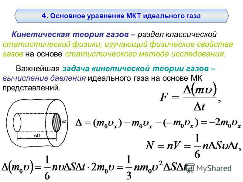 Кинетическая теория газов – раздел классической статистической физики, изучающий физические свойства газов на основе статистического метода исследования. Важнейшая задача кинетической теории газов – вычисление давления идеального газа на основе МК пр