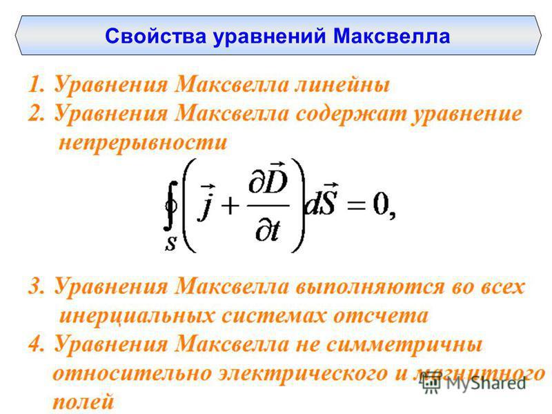 Свойства уравнений Максвелла