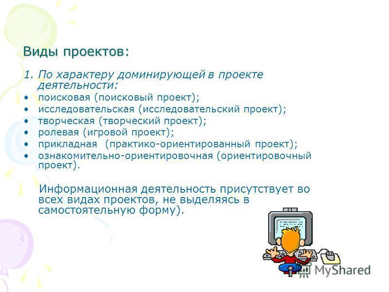 Виды проектов: 1. По характеру доминирующей в проекте деятельности: поисковая (поисковый проект); исследовательская (исследовательский проект); творческая (творческий проект); ролевая (игровой проект); прикладная (практико-ориентированный проект); оз