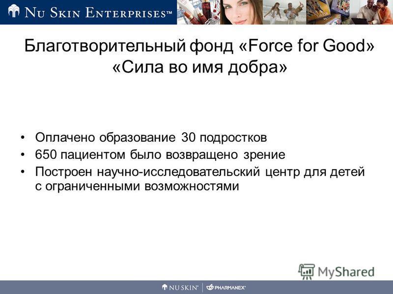 Оплачено образование 30 подростков 650 пациентом было возвращено зрение Построен научно-исследовательский центр для детей с ограниченными возможностями Благотворительный фонд «Force for Good» «Сила во имя добра»