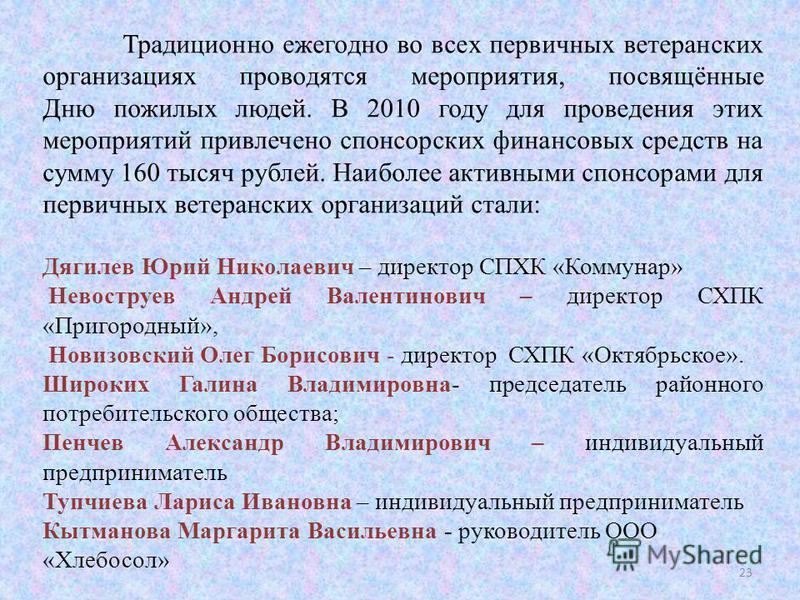 Традиционно ежегодно во всех первичных ветеранских организациях проводятся мероприятия, посвящённые Дню пожилых людей. В 2010 году для проведения этих мероприятий привлечено спонсорских финансовых средств на сумму 160 тысяч рублей. Наиболее активными