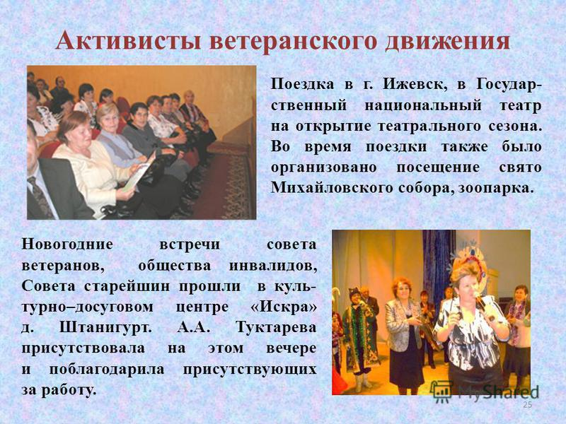 Активисты ветеранского движения Поездка в г. Ижевск, в Государ- ственный национальный театр на открытие театрального сезона. Во время поездки также было организовано посещение свято Михайловского собора, зоопарка. Новогодние встречи совета ветеранов,