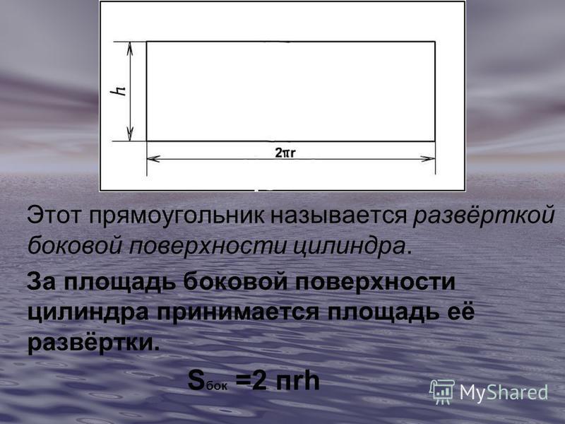 Этот прямоугольник называется развёрткой боковой поверхности цилиндра. За площадь боковой поверхности цилиндра принимается площадь её развёртки. S бок =2 пкh